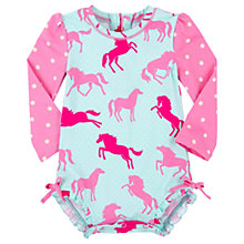 Buy Hatley Baby Pony Dot Print Swimsuit, Blue/Pink Online at johnlewis.com