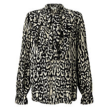 Buy Somerset by Alice Temperley Animal Ruffle Front Blouse, Black Online at johnlewis.com