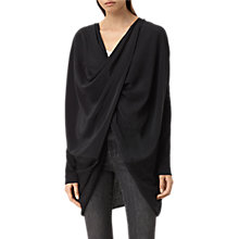 Buy AllSaints Silk Itat Shrug, Cinder Black Marl Online at johnlewis.com
