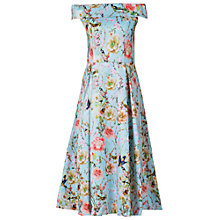 Buy Jolie Moi Floral Bardot Midi Dress, Aqua Online at johnlewis.com