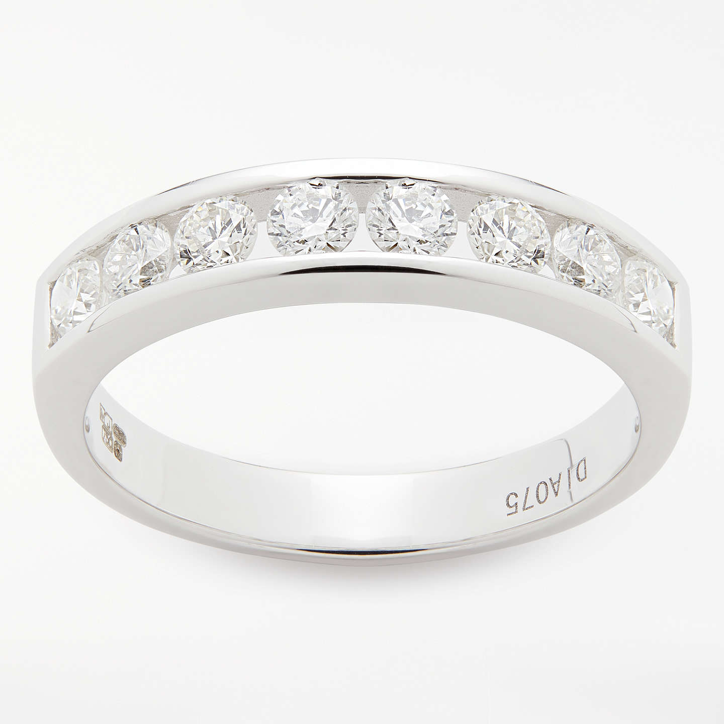 finish diamond eternity round in pave white satin platinum row single channel band mwb gold set