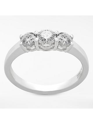 Mogul 18ct White Gold Round Brilliant Diamond Trilogy Engagement Ring, 0.75ct