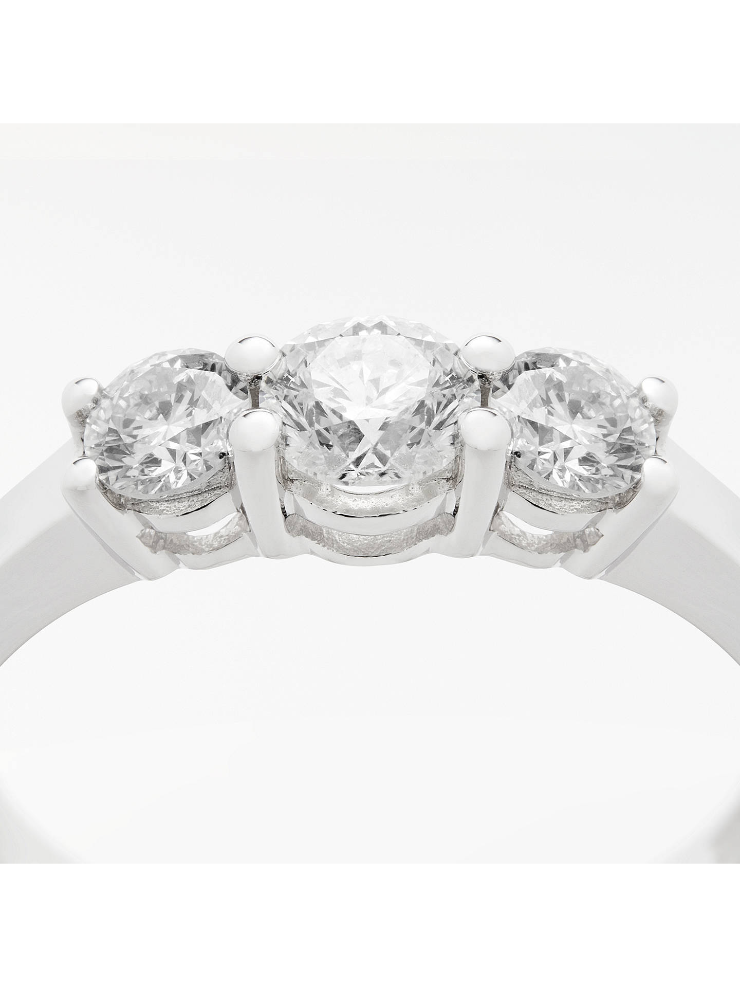 BuyMogul 18ct White Gold Round Brilliant Diamond Trilogy Engagement Ring, 0.75ct, N Online at johnlewis.com
