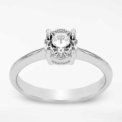 Mogul 18ct White Gold Round Brilliant Diamond Engagement Ring, 1ct