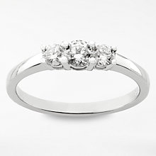 Buy Diamond Collection 18ct White Gold Round Brilliant Diamond Trilogy Engagement Ring, 0.5ct Online at johnlewis.com
