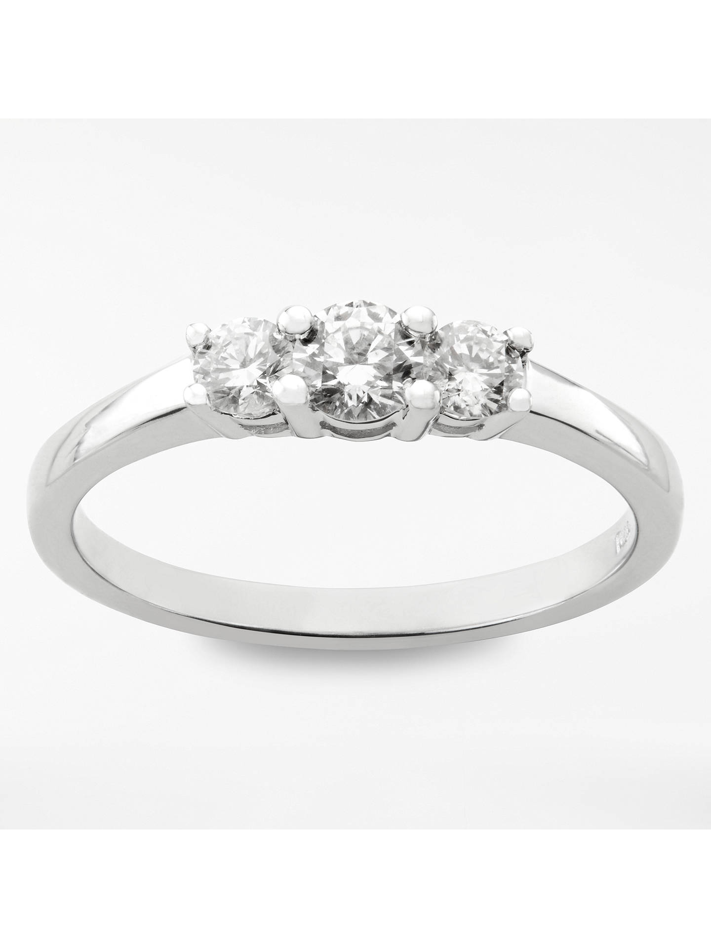 d49f7a2269686 Mogul 18ct White Gold Round Brilliant Diamond Trilogy Engagement Ring, 0.5ct