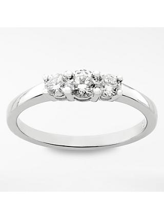 Mogul 18ct White Gold Round Brilliant Diamond Trilogy Engagement Ring, 0.5ct
