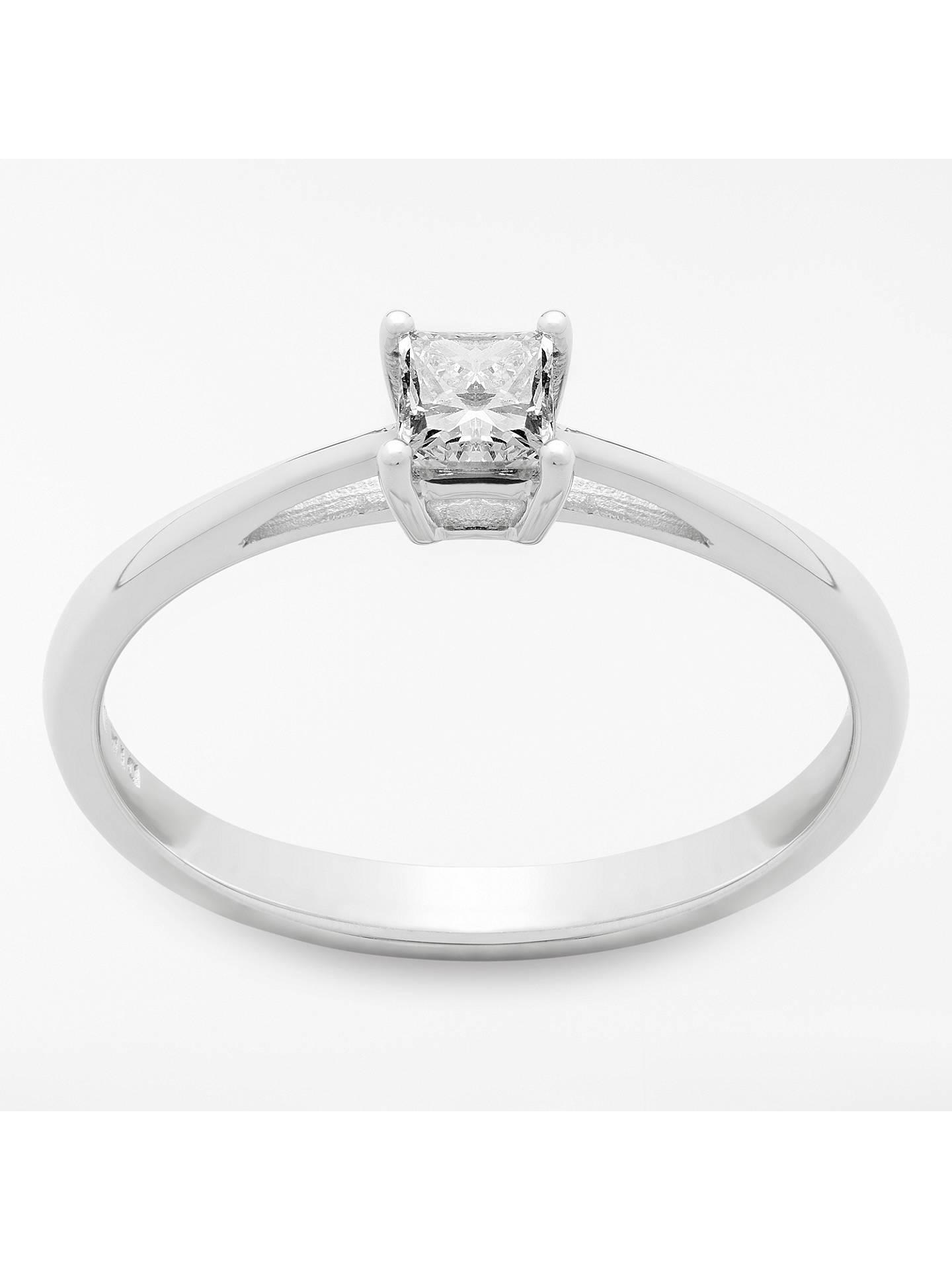 a609ce4efd309 Mogul 18ct White Gold Princess Cut Diamond Engagement Ring, 0.25ct