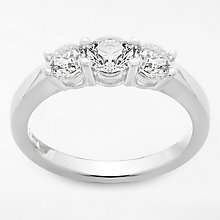 Buy Diamond Collection 18ct White Gold Round Brilliant Diamond Trilogy Engagement Ring, 1ct Online at johnlewis.com