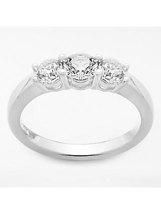 Mogul 18ct White Gold Round Brilliant Diamond Trilogy Engagement Ring, 1ct