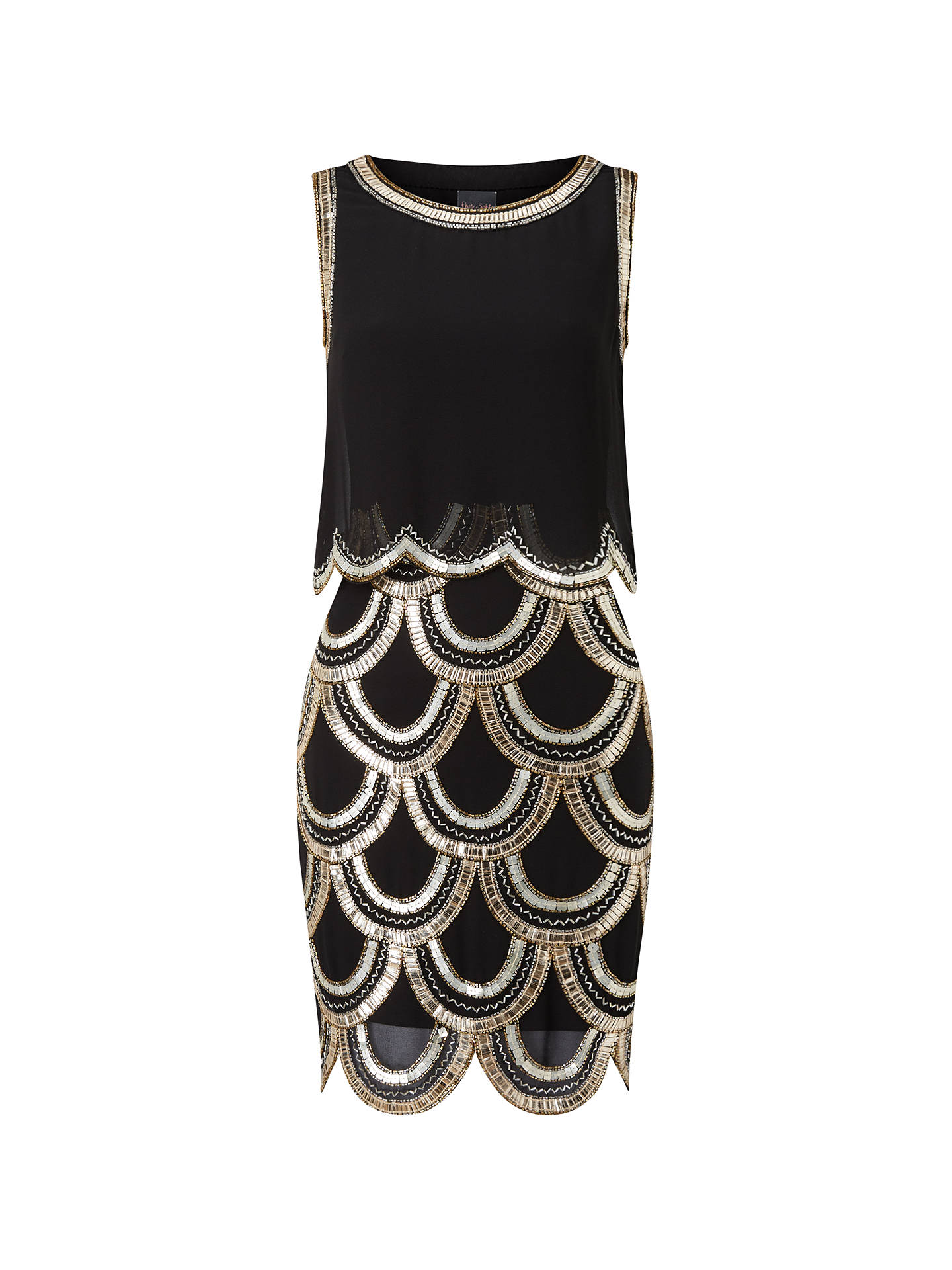 9bcaabdde1035 Buy Phase Eight Collection 8 Alice Beaded Dress, Black/Gold, 6 Online at ...