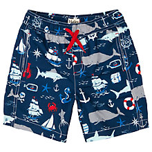 Buy Hatley Boys' Vintage Nautical Print Swim Trunks, Navy/Multi Online at johnlewis.com