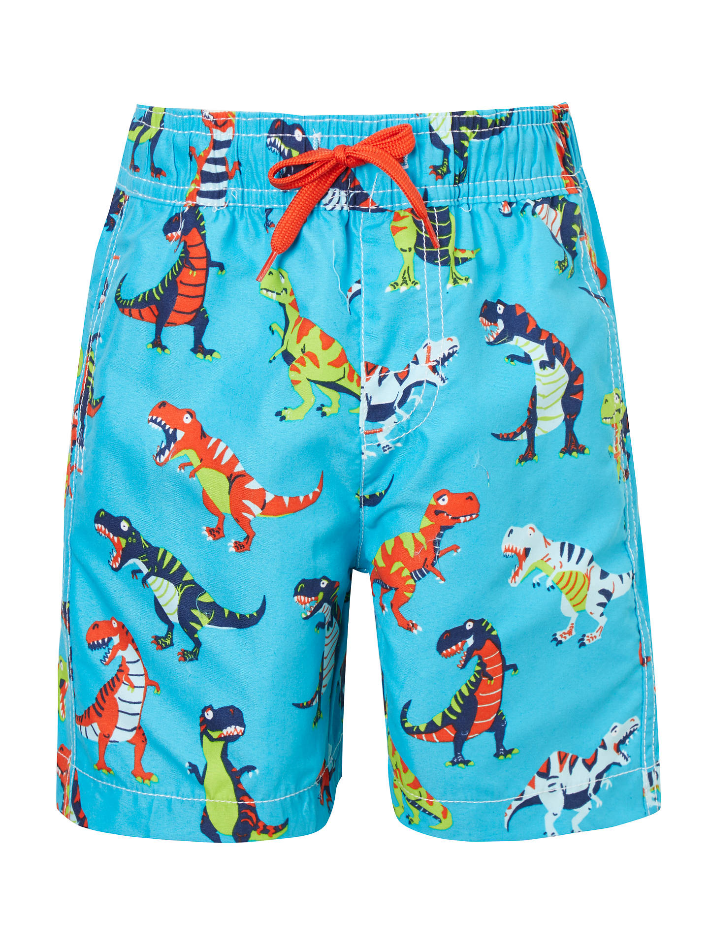 5458787a4d822 Hatley Boys' Roaring T-Rex Swim Trunks, Blue/Multi at John Lewis ...
