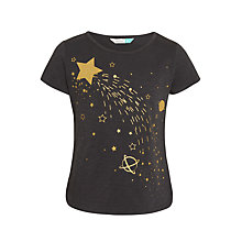 Buy John Lewis Girl's Star Print T-Shirt, Washed Black Online at johnlewis.com