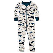 Buy Hatley Baby Shark Print Sleepsuit, Cream/Blue Online at johnlewis.com