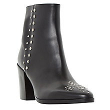 Buy Dune Parlow Studded Ankle Boots, Black Leather Online at johnlewis.com