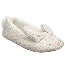 Buy John Lewis Bunny Knitted Ballet Slippers, Cream Online at johnlewis.com