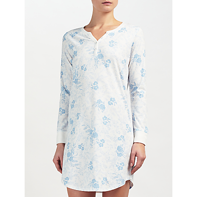 John Lewis Carmen Floral Print Long Sleeved Night Dress, Ivory/Blue