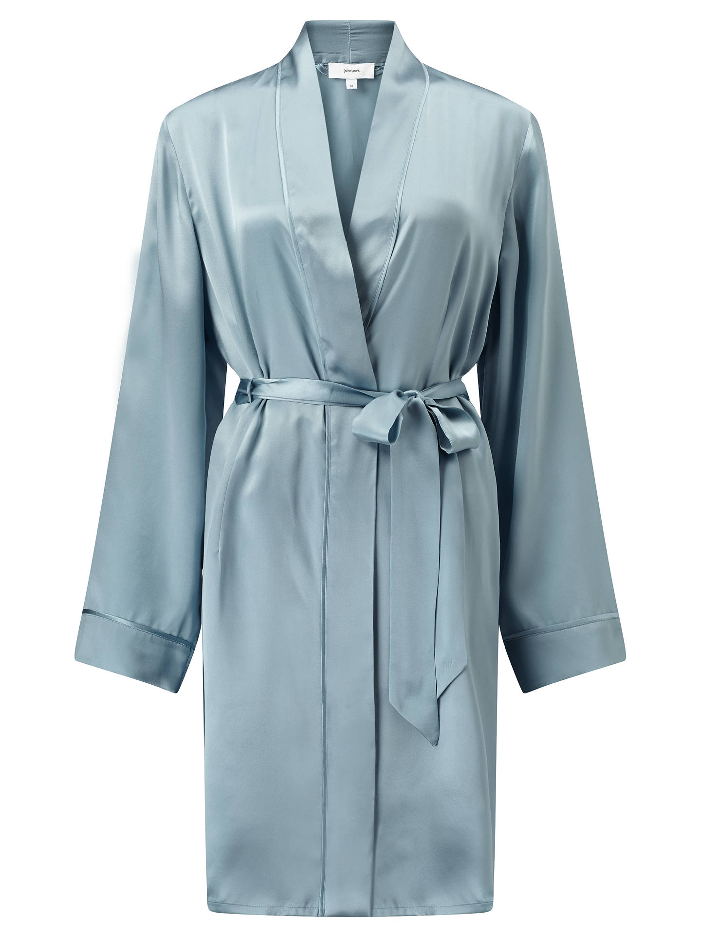 John Lewis Silk Dressing Gown, Aqua at John Lewis & Partners