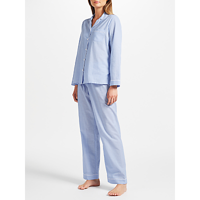 John Lewis Pin Spot Chambray Pyjama Set, Blue/Ivory
