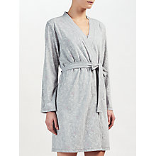 Buy John Lewis Valerie Heart Print Dressing Gown, Grey/Ivory Online at johnlewis.com