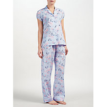 Buy John Lewis Rose Print Short Sleeve Pyjama Set, Blue/Ivory Online at johnlewis.com
