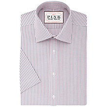 Buy Thomas Pink Corson Check Classic Fit Short Sleeve Shirt, Navy/Pink Online at johnlewis.com
