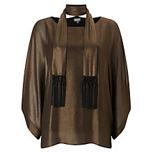 Buy Phase Eight Fina Fringe Scarf Blouse, Gold Online at johnlewis.com
