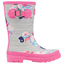Buy Little Joule Children's Floral Stripe Wellington Boots, Pink Online at johnlewis.com