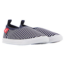 Buy Little Joule Children's Pebble Striped Slip On Shoes, Navy Online at johnlewis.com