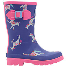 Buy Little Joule Children's Carousel Wellington Boots, Blue/Pink Online at johnlewis.com