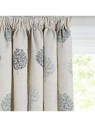 John Lewis & Partners Mini Olive Trees Pair Lined Pencil Pleat Curtains, Duck Egg