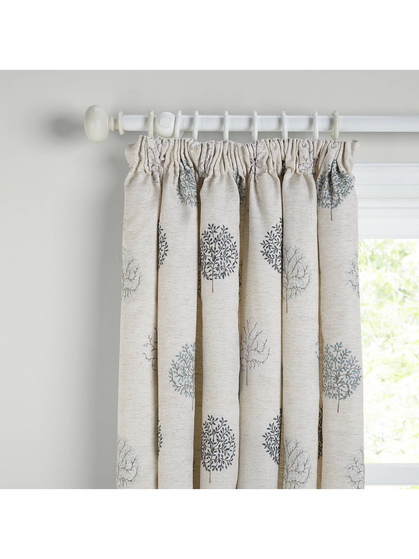 ... BuyJohn Lewis & Partners Mini Olive Trees Pair Lined Pencil Pleat Curtains, Duck Egg, ...