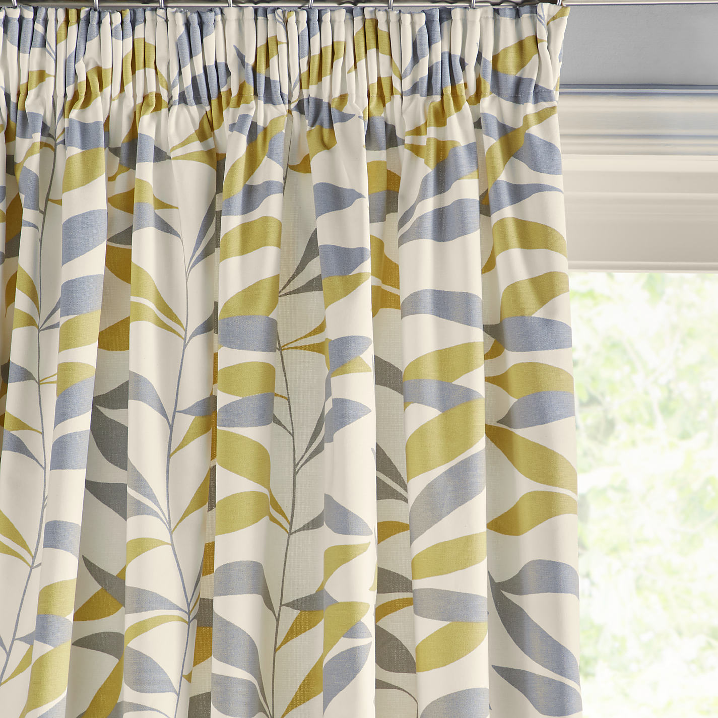 Grey and yellow curtains uk john lewis - Buy John Lewis Lina Leaf Thermal Lined Pencil Pleat Curtains Online At Johnlewis Com
