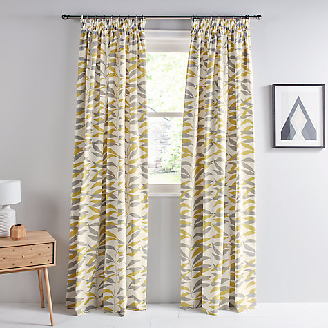 buy john lewis lina leaf thermal lined pencil pleat curtains