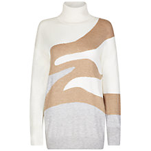 Buy Winser London Intarsia Roll Neck Jumper, Ivory/Multi Online at johnlewis.com