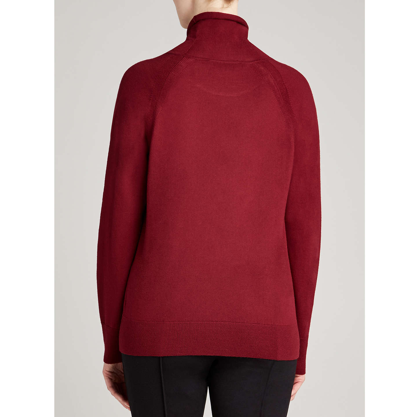 BuyWinser London Merino Wool Roll Neck, Rich Burgundy, XS Online at johnlewis.com