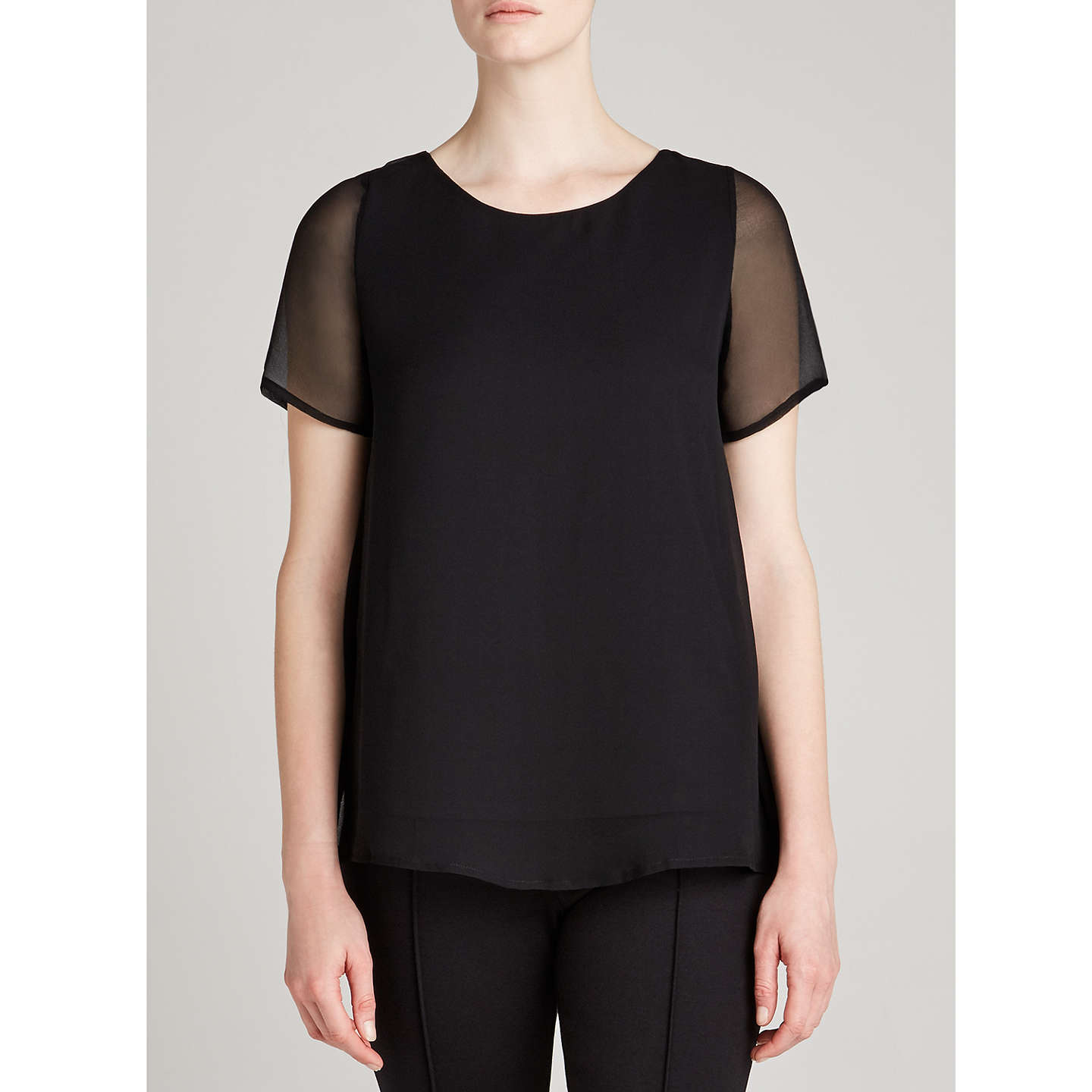 BuyWinser London Silk Layered Top, Black, XS Online at johnlewis.com