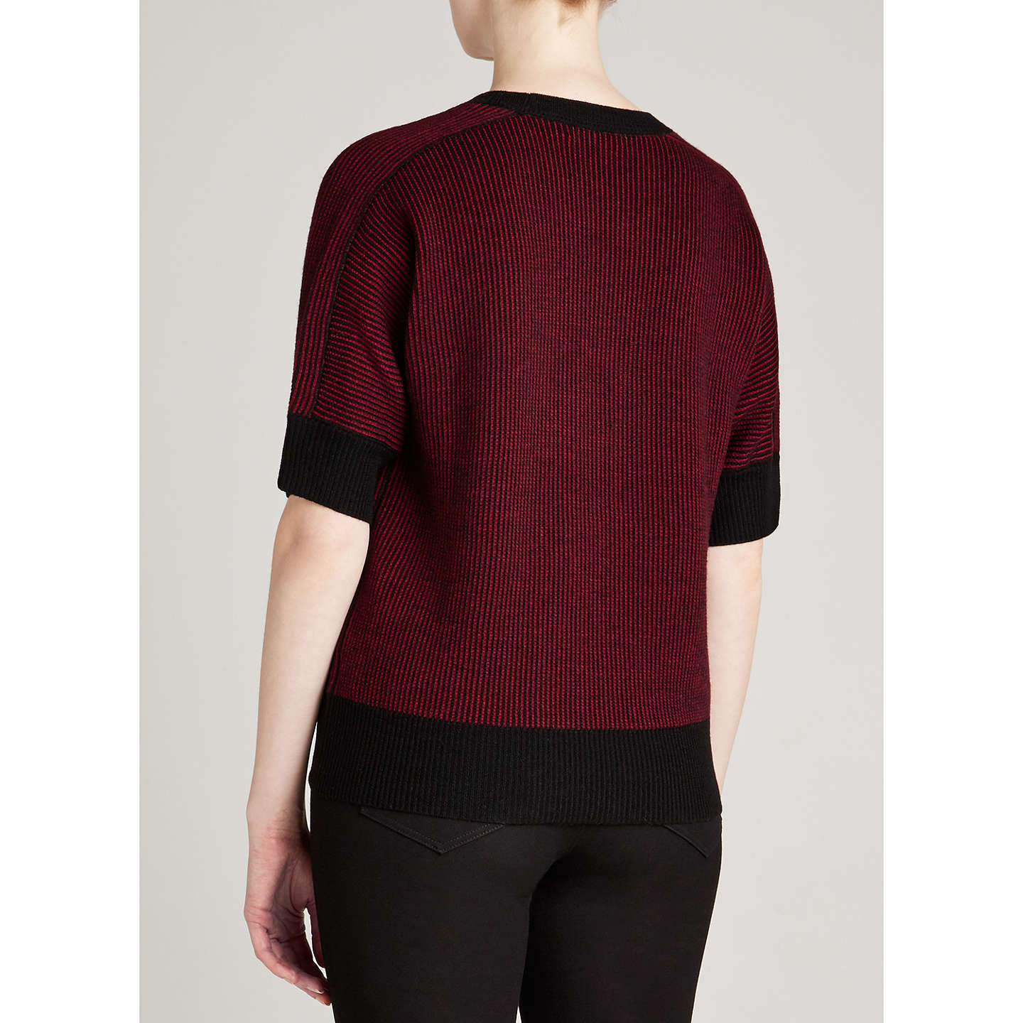 BuyWinser London Merino Wool Coco Top, Black/Burgundy, XS Online at johnlewis.com