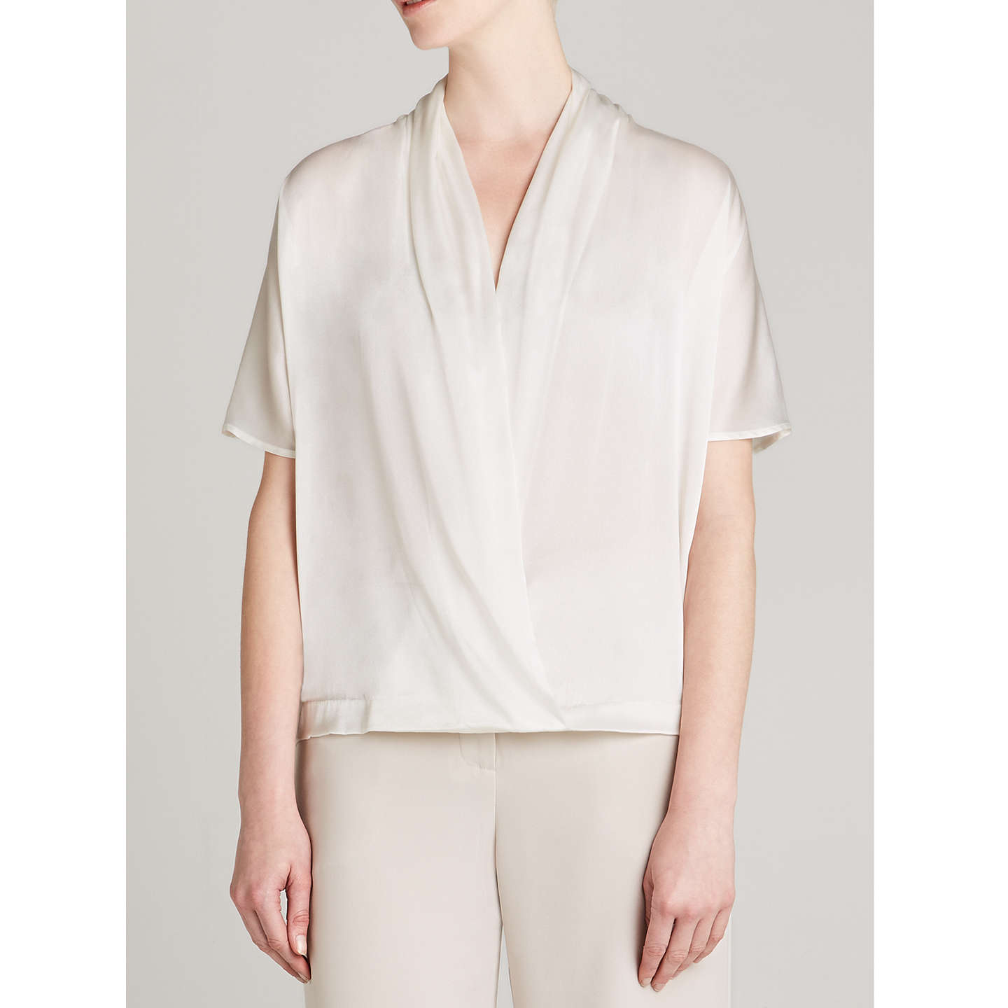 BuyWinser London Silk And Jersey Short Sleeve Wrap Top, Ivory, XS Online at johnlewis.com