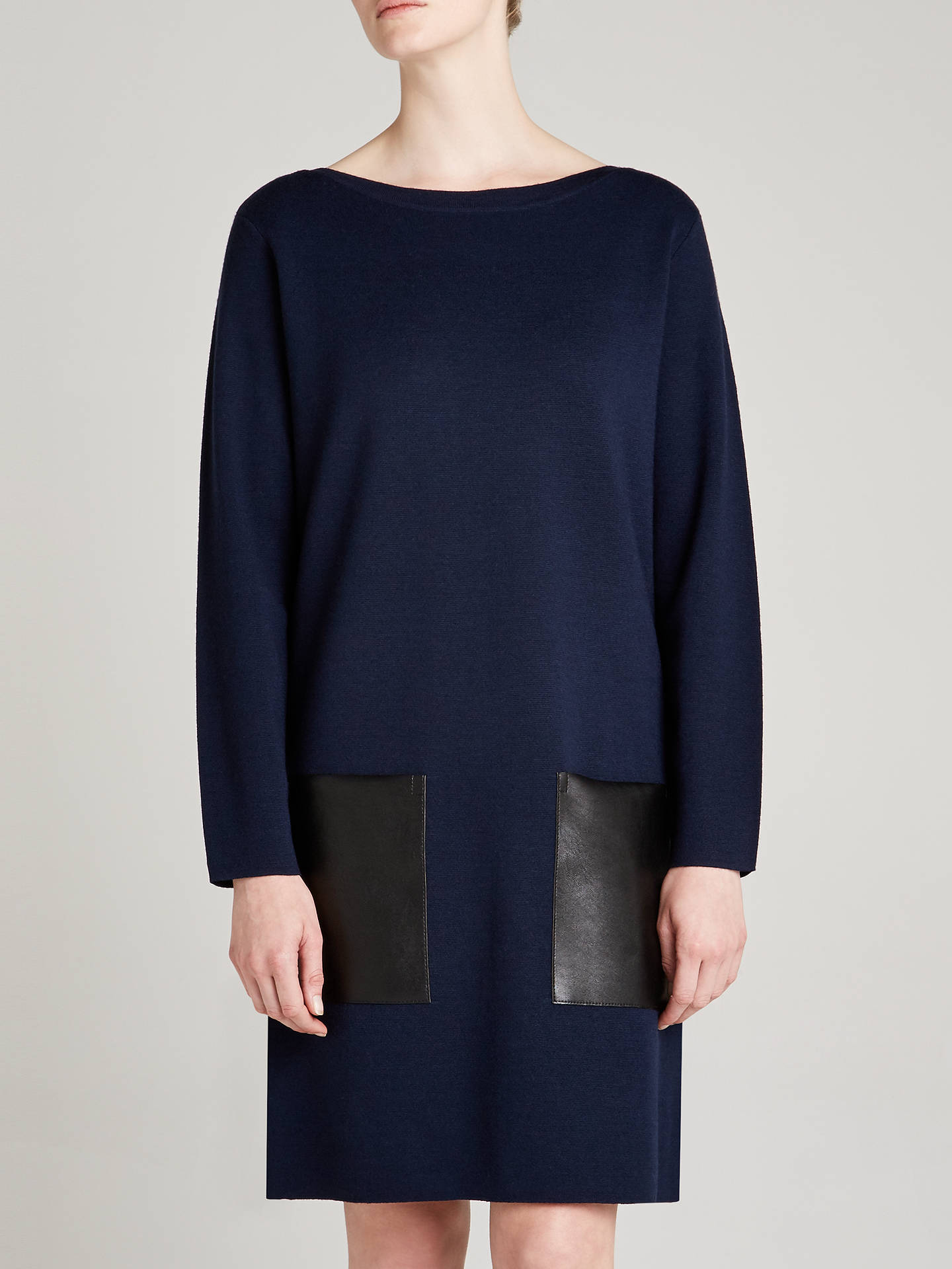 BuyWinser London Merino Wool Pocket Dress, Midnight/Black, XS Online at johnlewis.com