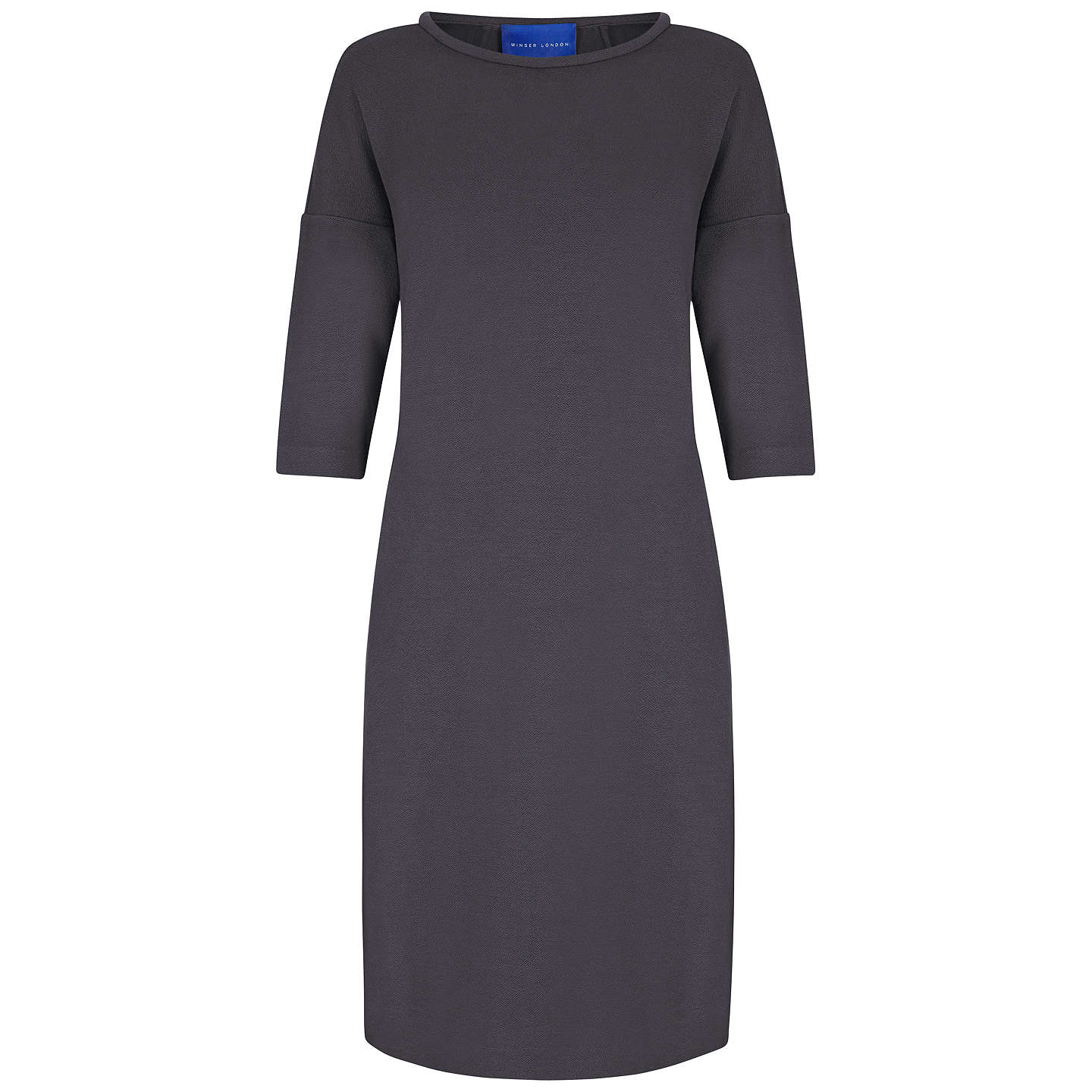 BuyWinser London Crepe Three Quarter Sleeve Shift Dress, Dark Grey, XS Online at johnlewis.com