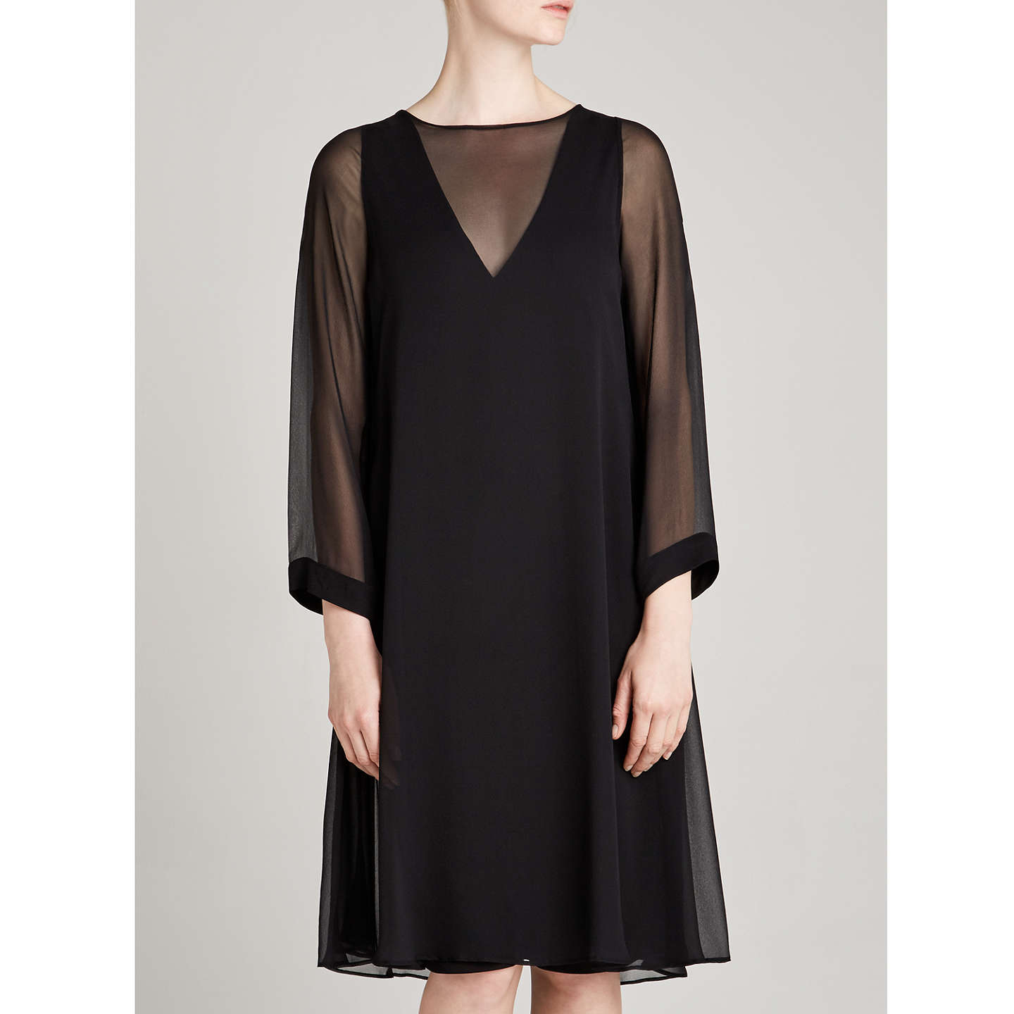 BuyWinser London Georgette Silk Layered Dress, Black, 8 Online at johnlewis.com