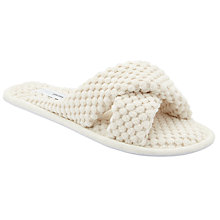 Buy John Lewis Waffle Crisscross Slide Slippers, Cream Online at johnlewis.com