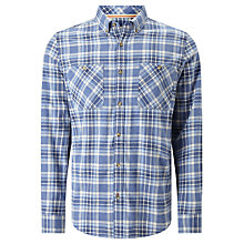 Buy John Lewis Flannel Cotton Check Shirt, Blue Online at johnlewis.com