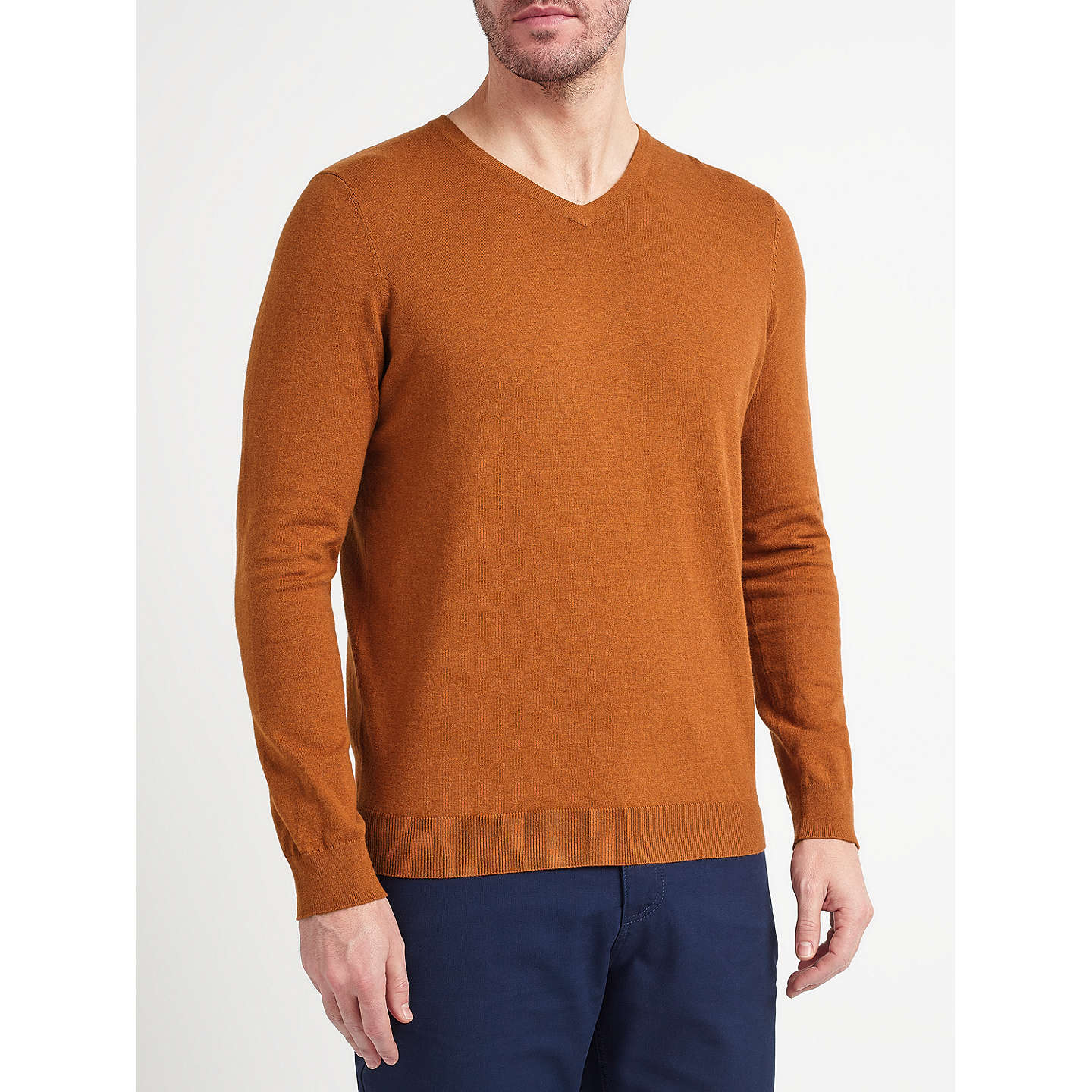 BuyJohn Lewis Cotton Blend V-Neck Jumper, Burnt Orange, S Online at johnlewis.com