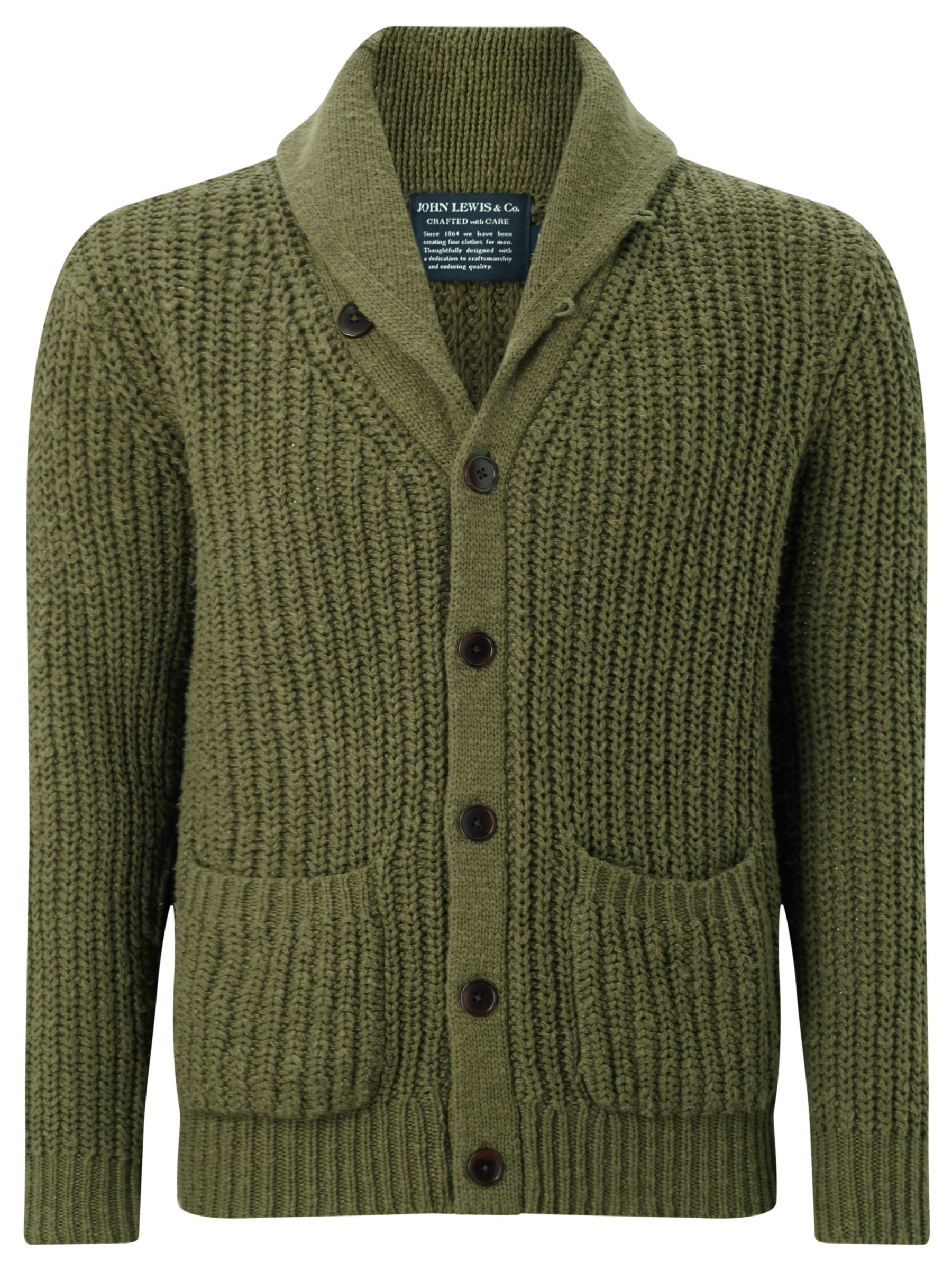 JOHN LEWIS & Co. Slub Cotton Shawl Neck Cardigan, Khaki at