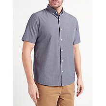 Buy John Lewis Fine Stripe Dobby Short Sleeve Shirt, Navy Online at johnlewis.com