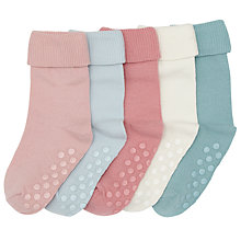 Buy John Lewis Baby Cotton Rich Roll Top Socks, Pack of 5, Multi/Pastel Online at johnlewis.com