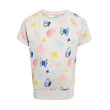 Buy John Lewis Girls' Short Sleeve Butterfly Print Sweatshirt, Oatmeal Online at johnlewis.com